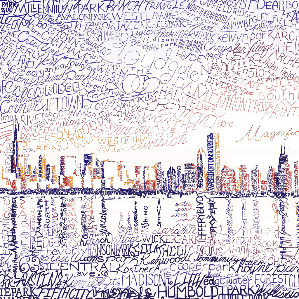 Chicago Skyline Wall Art Poster