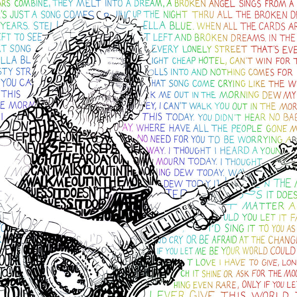 Jerry Garcia Word Art Print Art
