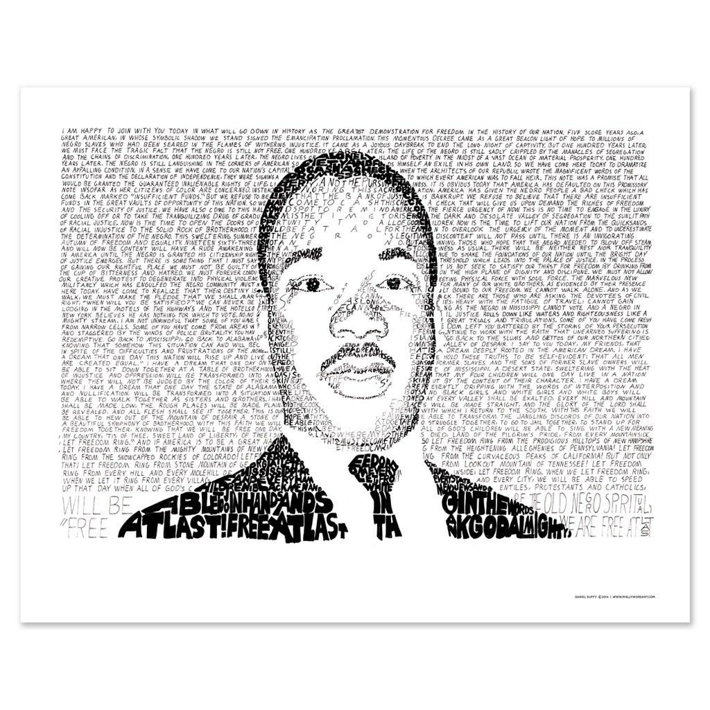 Martin Luther King 3 Wall art. : I Have a dream Speech Spelled out in poster