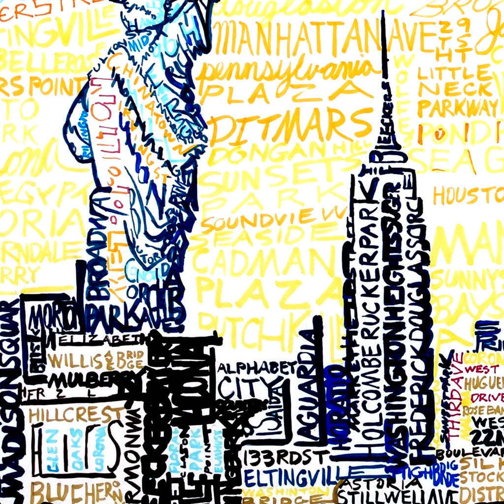 New York City Skyline Word Art Print - Art of Words