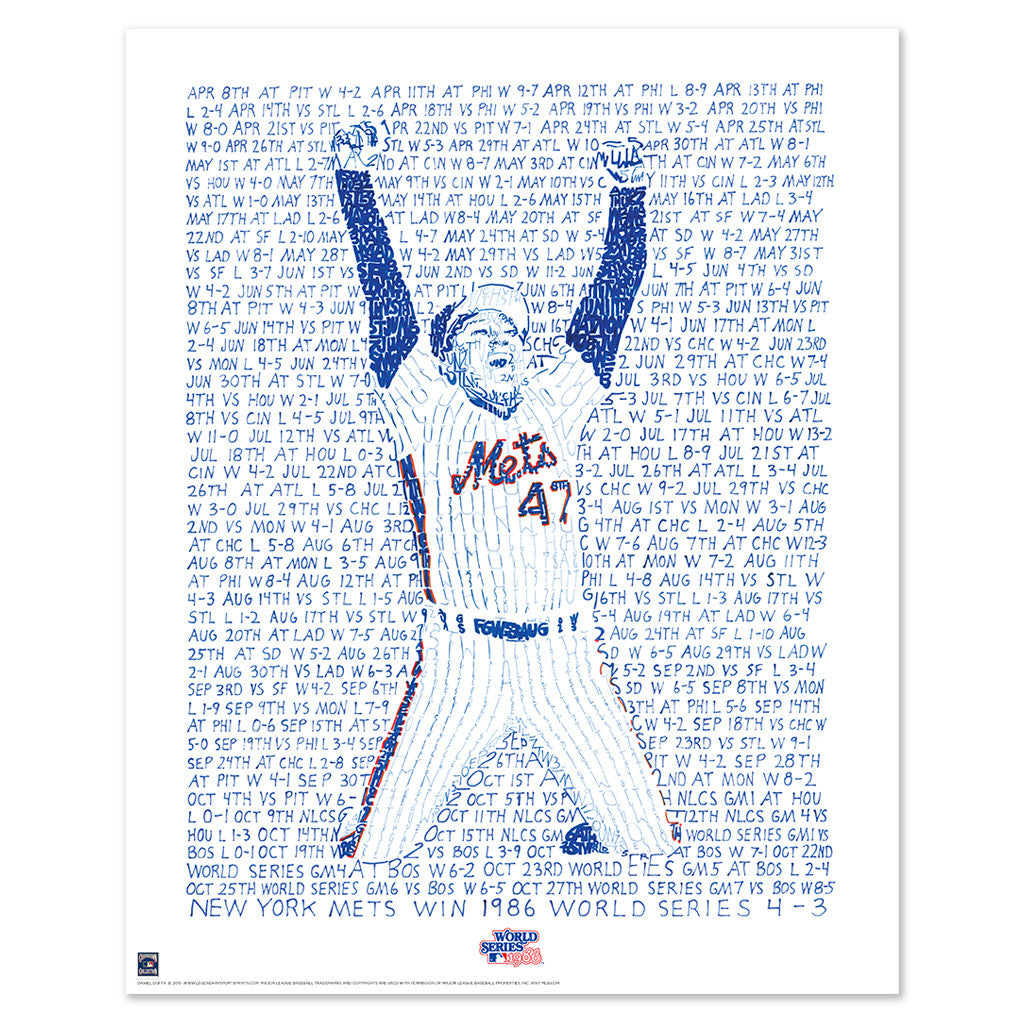 1986 New York Mets World Series Poster