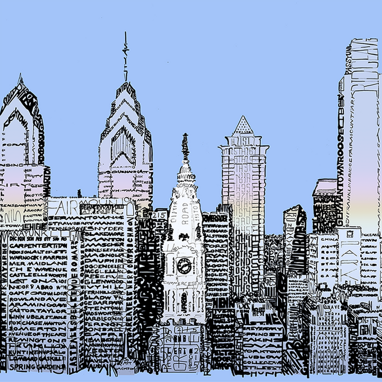 Philadelphia Skyline Word Art