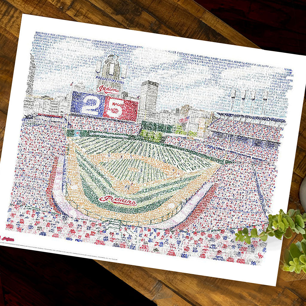 Cleveland indians button picture frame