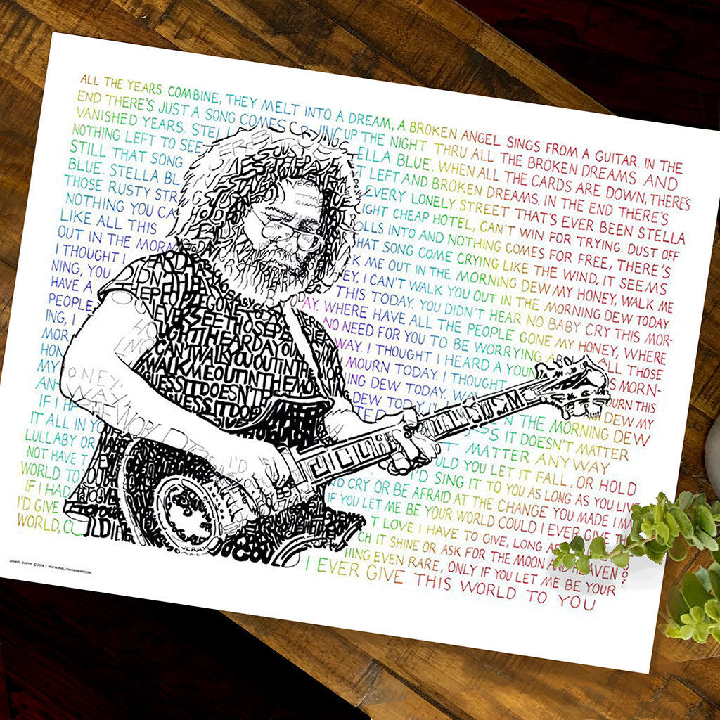 Grateful Dead Jerry Garcia Word Art by Dan Duffy