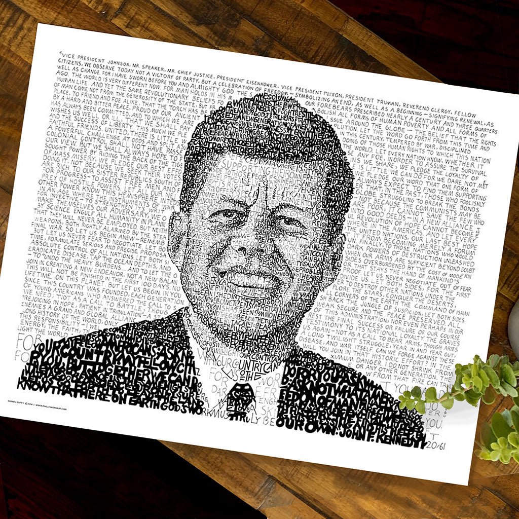 JFK Word Art by Dan Duffy