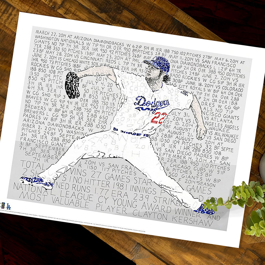 Los Angeles Dodgers Clayton Kershaw Word Art