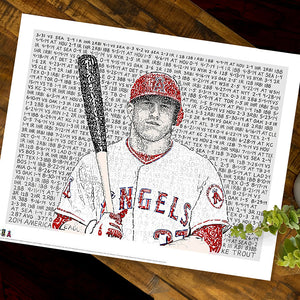 Mike Trout Word Art by Dan Duffy