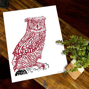 Temple Owls Word Art by Dan Duffy