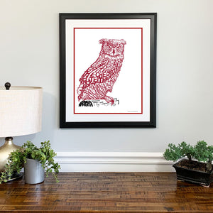 Temple Owls Gift Framed