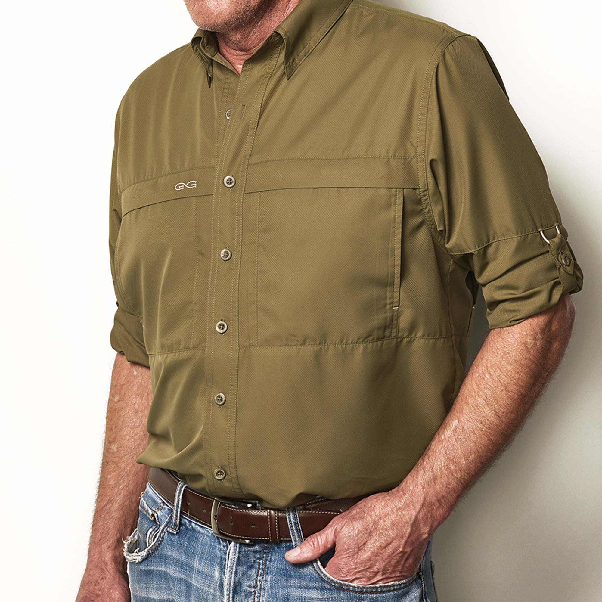 Olive MicroFiber Shirt | Long Sleeve - GameGuard Outdoors