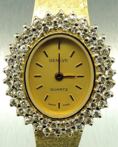 1.51 CT. GENÈVE SWISS-MADE 14 KARAT YELLOW AND WHITE GOLD WATCH