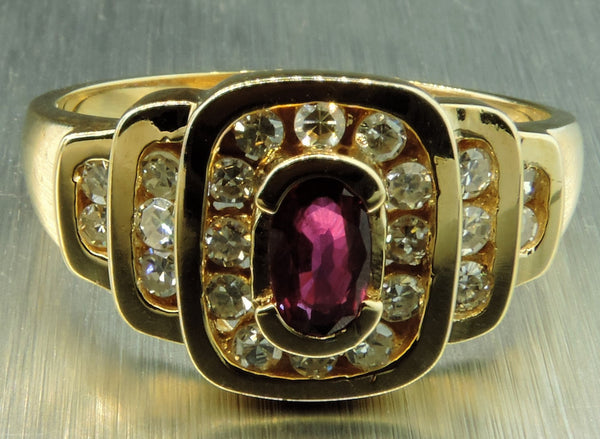 CHANNEL SET DIAMONDS AND RUBY ART DECO INSPIRED RING
