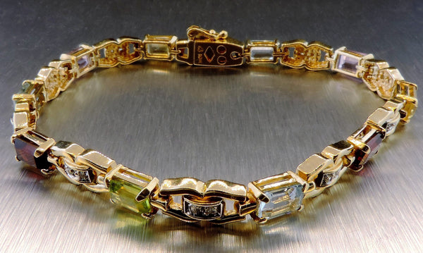 10 KARAT COLOURED GEMSTONE BRACELET