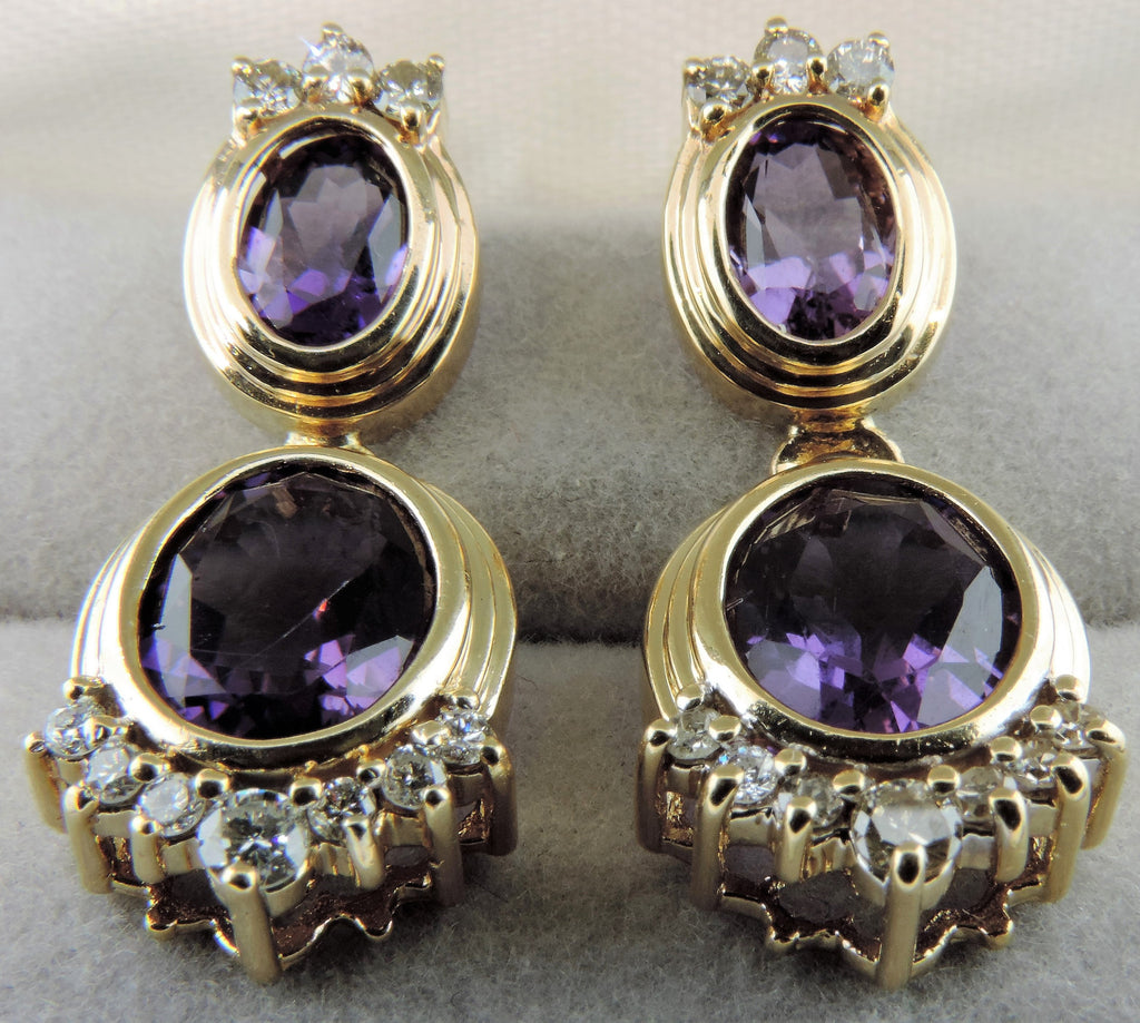 DANGLING AMETHYST AND DIAMOND EARRINGS
