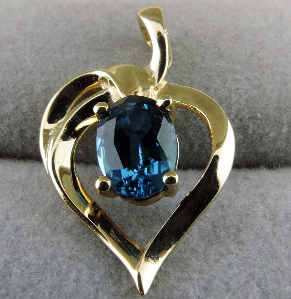 Sweetheart Pendant with Blue Topaz Gemstone