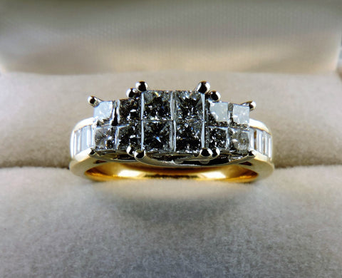 PRINCESS AND BAGUETTE CUT HALF ETERNITY DIAMOND WEDDING RING