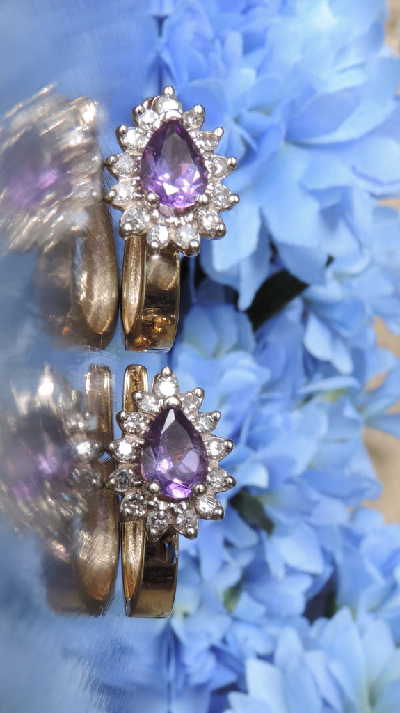 AMETHYST AND DIAMOND CLUTCHBACK EARRINGS