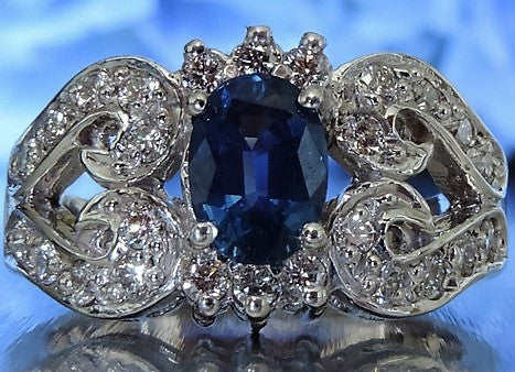 BLUE SAPPHIRE AND DIAMOND HEART ENGAGEMENT RING