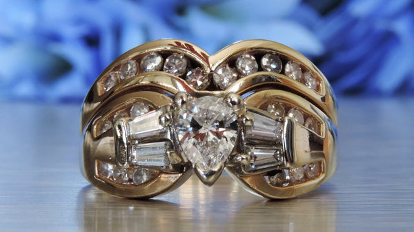 Channel Set and Baguette Diamond Engagement and Wedding Rings with Pear-shaped Centre Stone