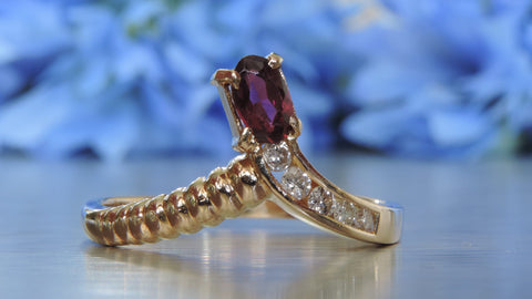 DIAMOND AND GARNET TIARA RING