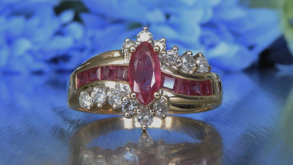 DIAMOND AND RUBY SWIRL HALF ETERNITY RING