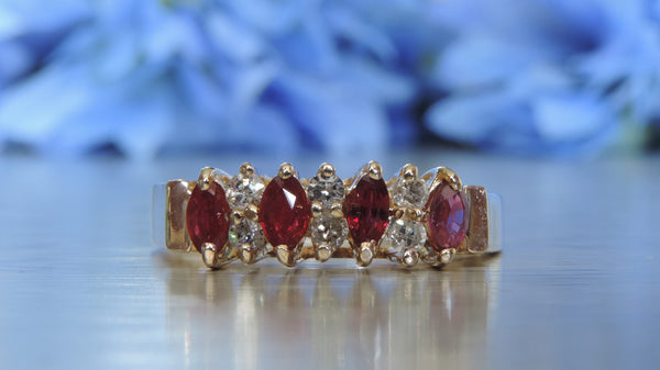 DIAMOND AND RUBY TIARA RING