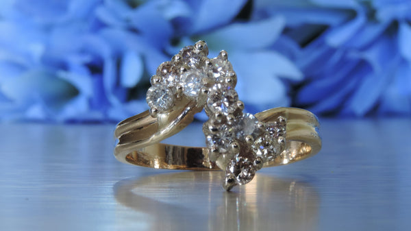 DIAMOND CLUSTER STATEMENT RING ON SPLIT SHANK SETTING
