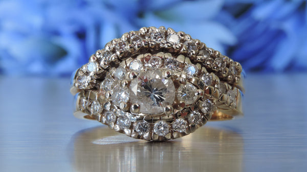 CLUSTER SWIRL ENGAGEMENT AND WEDDING DIAMOND RINGS
