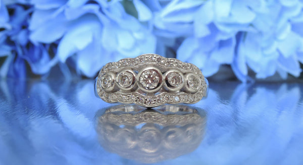 FIVE STONE VINTAGE-INSPIRED DIAMOND WEDDING RING