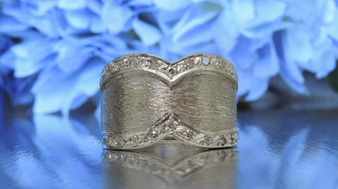 FROSTED SATIN FINISH WIDE BAND DIAMOND RING