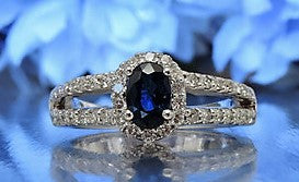 HALF ETERNITY DIAMOND AND BLUE SAPPHIRE ENGAGEMENT RING