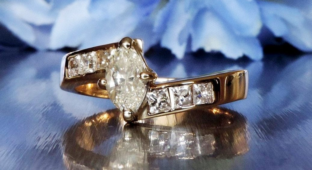 HALF ETERNITY ENGAGEMENT RING WITH PRINCESS AND MARQUISE CUT DIAMONDS
