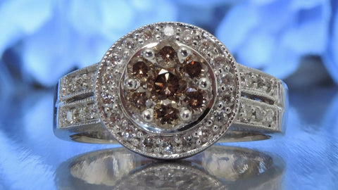 HALO SETTING ENGAGEMENT RING WITH COGNAC DIAMONDS