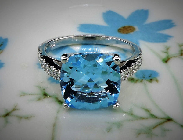 HANDMADE CUSHION CUT BLUE TOPAZ AND DIAMOND RING