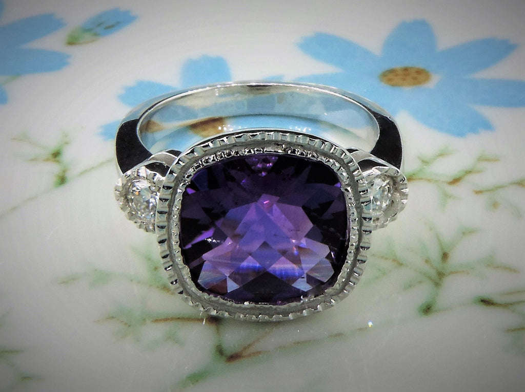 HANDMADE CUSHION CUT AMETHYST AND DIAMOND RING