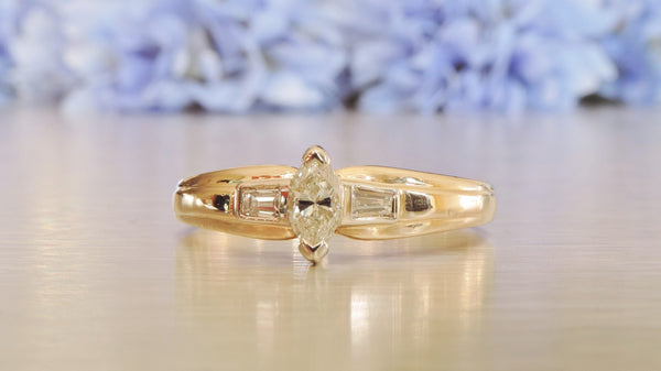 MARQUISE AND BAGUETTE ENGAGEMENT DIAMOND RING