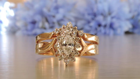 Marquise Cluster Engagement and Wedding Rings
