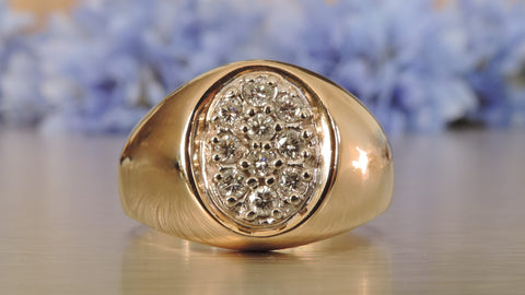 Men's Oval Cluster Diamond Ring