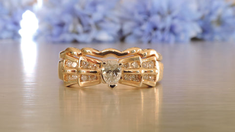 PYRAMID DESIGN CHANNEL SET DIAMOND ENGAGEMENT AND WEDDING RINGS