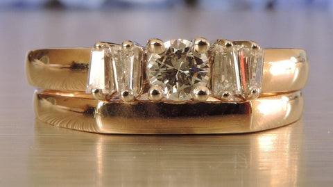 ROUND BRILLIANT AND BAGUETTE DIAMOND ENGAGEMENT AND WEDDING RINGS