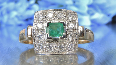 SQUARE CLUSTER DIAMOND AND EMERALD RING