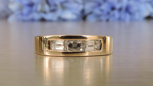 THREE-STONE DIAMOND WEDDING RING