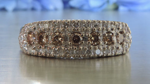 THREE ROW HALF ETERNITY WEDDING RING WITH CHAMPAGNE DIAMONDS