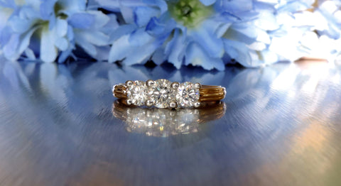 VINTAGE-INSPIRED CLASSIC THREE STONE ENGAGEMENT RING