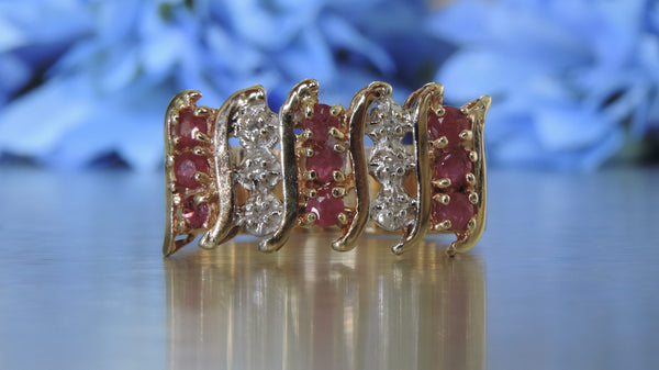 TIARA HALF ETERNITY DIAMOND AND RUBY RING