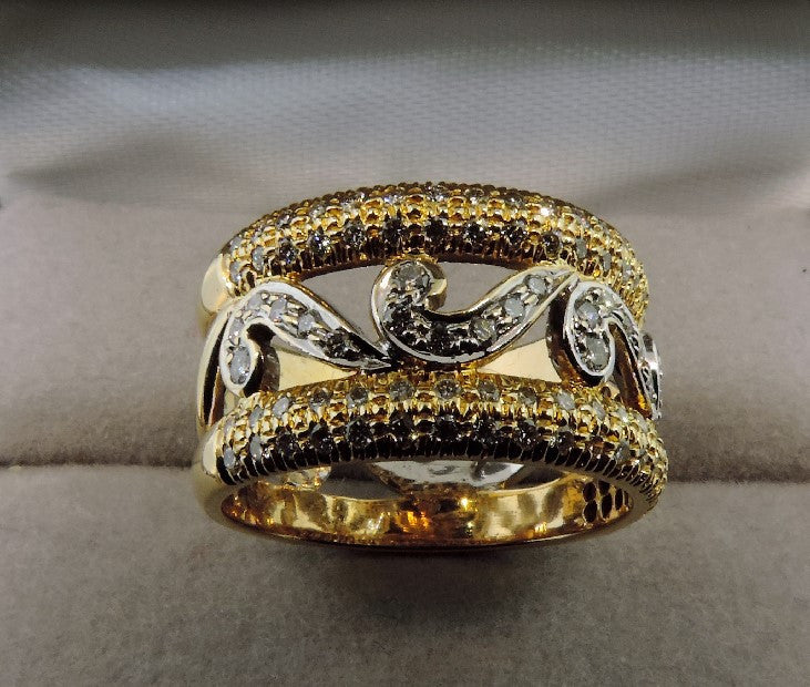 Unique Wedding Band Handmade In 18k Yellow And White Gold