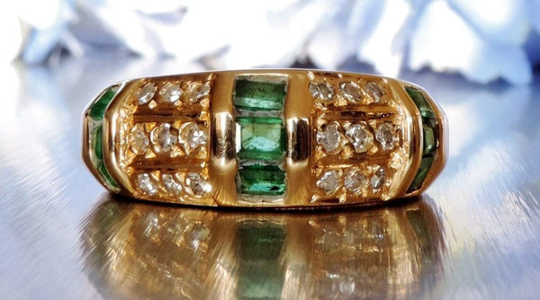 Vintage Half Eternity Diamond and Emerald Ring