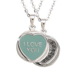 "Love Hearts Classic ""I Love you"" Aqua Enamel & Black Crystal Pendant"