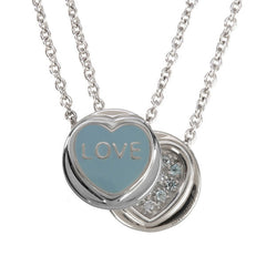 "Love Hearts - Mini ""Love"" Aqua Enamel & Blue Crystal Pendant"