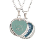 "Love Hearts Classic ""I Love You"" Aqua Enamel & Blue Crystal Pendant"